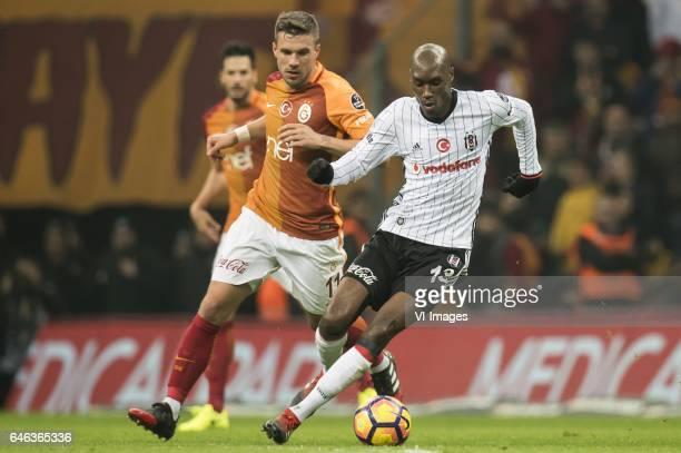 Lukas Josef Podolski of Galatasaray Atiba Hutchinson of Besiktas JKduring the Turkish Spor Toto Super Lig football match between Galatasaray SK and...