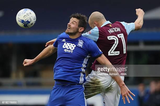 Lukas Jutkiewicz of Birmingham City and Alan Hutton of Aston Villa during the Sky Bet Championship match between Birmingham City and Aston Villa at...