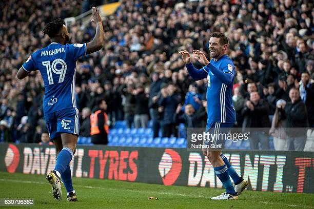 Lukas Jutkiewicz of Birmingham City celebrates after scoring the first goal during the Sky Bet Championship match between Birmingham City and...
