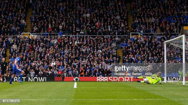 Lukas Jutkiewicz of Birmingham City has a penalty saved by Joel Coleman of Huddersfield Town during the Sky Bet Championship match between Birmingham...
