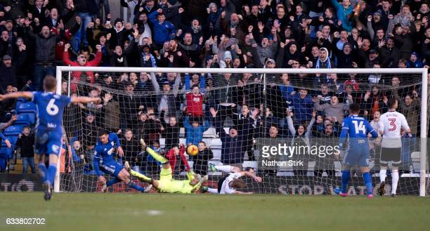 Lukas Jutkiewicz of Birmingham City scores the opening goal during the Sky Bet Championship match between Birmingham City and Fulham at St Andrews...