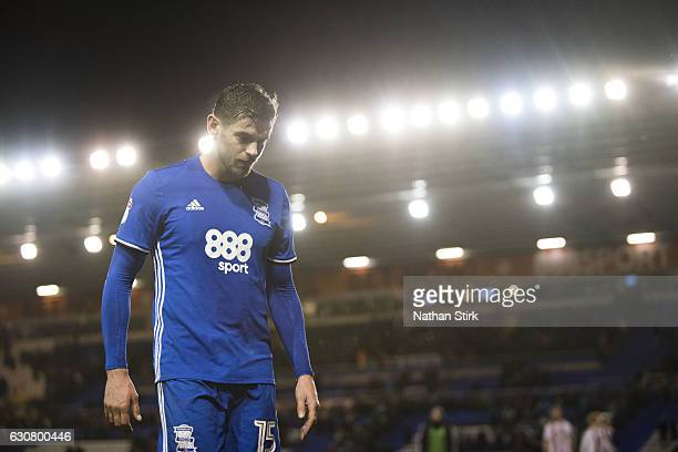 Lukas Jutkiewicz of Birmingham City walks to the tunnel after the Sky Bet Championship match between Birmingham City and Brentford at St Andrews...