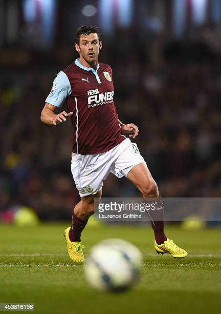 Lukas Jutkiewicz of Burnley in action during the Barclays Premier League match between Burnley and Chelsea at Turf Moor on August 18 2014 in Burnley...