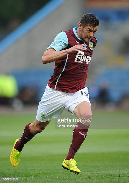 Lukas Jutkiewicz of Burnley in action during the pre season friendly match between Burnley and Celta Vigo at Turf Moor on August 05 2014 in Burnley...