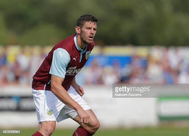 Lukas Jutkiewicz of Burnley in action during the preseason friendly between Accrington Stanley and Burnley at the Store First Stadium on July 26 in...
