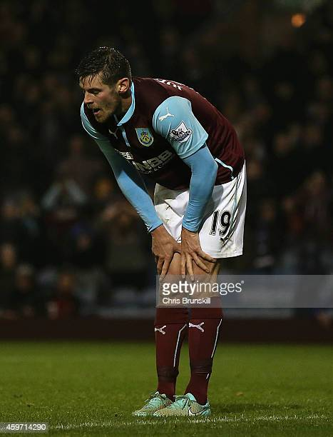 Lukas Jutkiewicz of Burnley reacts during the Barclays Premier League match between Burnley and Aston Villa at Turf Moor on November 29 2014 in...