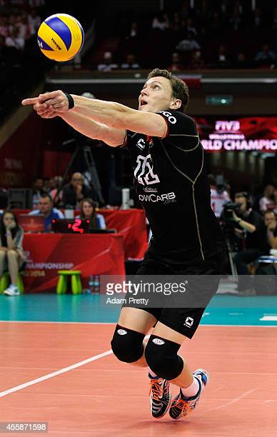 Lukas Kampa of Germany in action during the third place playoff match of the FIVB World Championships between Germany and France at Spodek Hall on...