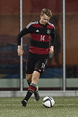 Lukas Klostermann of Germany controls the ball during the 2017 UEFA European U21 Championships Qualifier between U21 Faroe Islands and U21 Germany at...