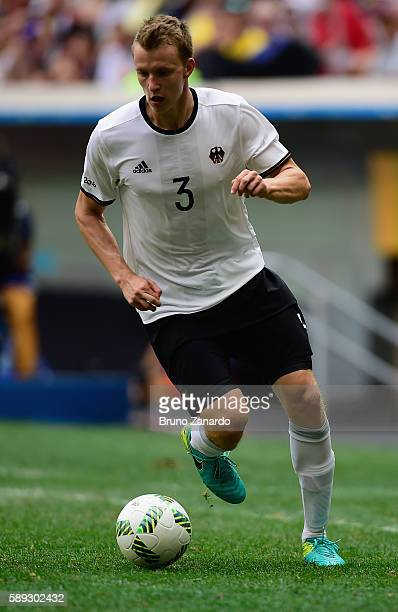 Lukas Klostermann of Germany dribbles against Portugal during the second half of the Men's Football Quarterfinal match on Day 8 of the Rio 2016...