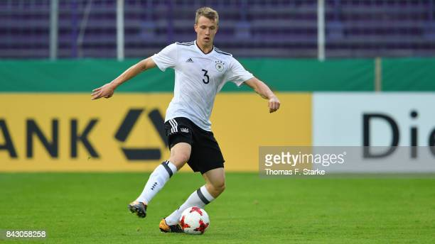 Lukas Klostermann of Germany runs with the ball during the UEFA Euro 2019 Qualifier match between Germany U21 and Kosovo U21 at Osnatel Arena on...