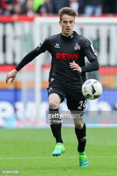 Lukas Kluenter of Colonge controls the ball during the Bundesliga match between FC Augsburg and 1 FC Koeln at WWK Arena on April 15 2017 in Augsburg...