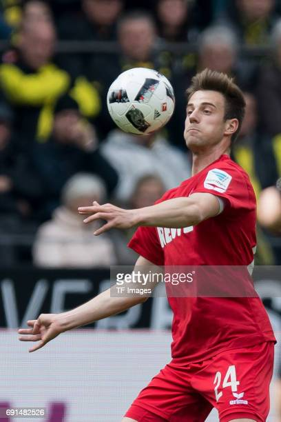 Lukas Kluenter of Colonge controls the ball during the Bundesliga match between Borussia Dortmund and FC Koeln at Signal Iduna Park on April 29 2017...