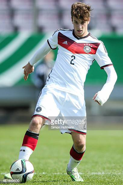 Lukas Kluenter of Germany controls the ball during to the UEFA European Under19 Championship Elite Round match between U19 Germany and U19 Ireland at...