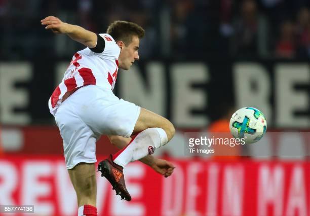 Lukas Kluenter of Koeln controls the ball during the Bundesliga match between 1 FC Koeln and RB Leipzig at RheinEnergieStadion on October 1 2017 in...