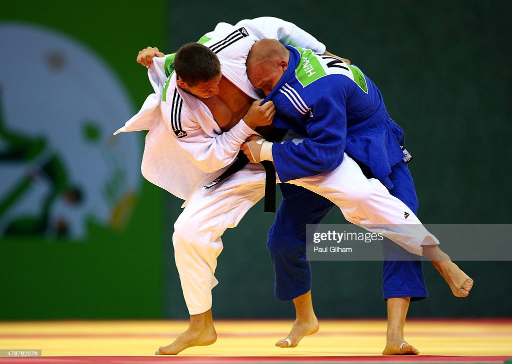 Lukas Krpalek of the Czech Republic (white) and <a gi-track='captionPersonalityLinkClicked' href=/galleries/search?phrase=Henk+Grol&family=editorial&specificpeople=4920749 ng-click='$event.stopPropagation()'>Henk Grol</a> of the Netherlands (blue) compete during the Men's Judo -100kg gold medal final during day fifteen of the Baku 2015 European Games at Heydar Aliyev Arena on June 27, 2015 in Baku, Azerbaijan.