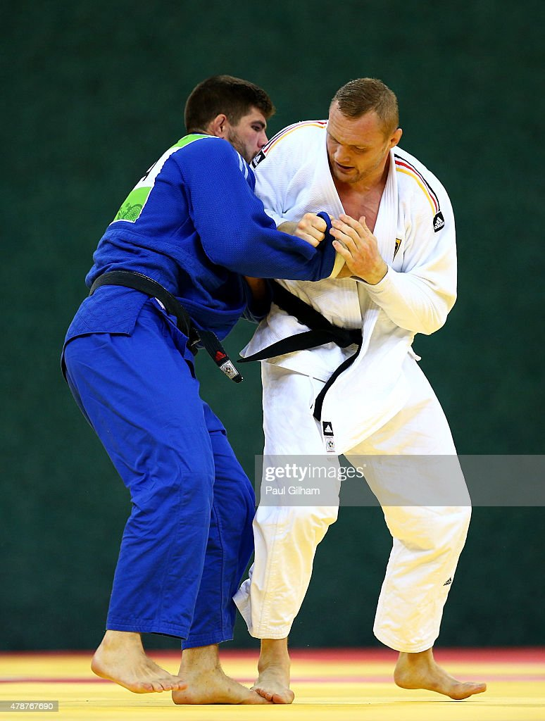 Lukas Krpalek of the Czech Republic (white) and <a gi-track='captionPersonalityLinkClicked' href=/galleries/search?phrase=Henk+Grol&family=editorial&specificpeople=4920749 ng-click='$event.stopPropagation()'>Henk Grol</a> of the Netherlands compete in the Men's Judo -100kg Final during day fifteen of the Baku 2015 European Games at Heydar Aliyev Arena on June 27, 2015 in Baku, Azerbaijan.