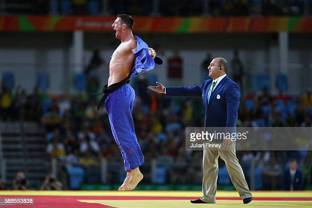 Lukas Krpalek of the Czech Republic celebrates after defeating Elmar Gasimov of Azerbaijan during the men's 100kg gold medal judo contest on Day 6 of...