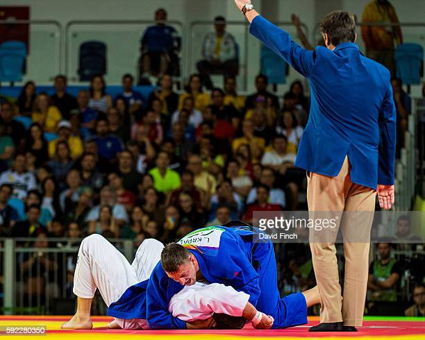 Lukas Krpalek of the Czech Republic held Cyrille Maret of France for an ippon to reach the u100kg final where he won the gold medal during day 6 of...