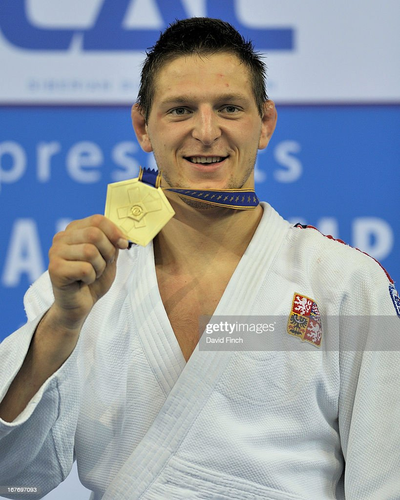 <a gi-track='captionPersonalityLinkClicked' href=/galleries/search?phrase=Lukas+Krpalek&family=editorial&specificpeople=6589582 ng-click='$event.stopPropagation()'>Lukas Krpalek</a> of the Czech Republic poses with his u100kgs gold medal during the Budapest European Championships at the Papp Laszlo Sports Hall on April 27, 2013 in Budapest, Hungary.