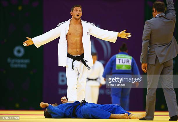 Lukas Krpalek of the Czech Republic reacts as he defeats Elkhan Mammadov of Azerbaijan in the Men's Judo 100kg round of 16 contest during day fifteen...