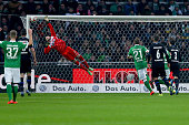 Lukas Kruse of Paderborn gest the first goal of Zlatko Junuzovic of Bremen during the Bundesliga match between Werder Bremen and SC Paderborn at...