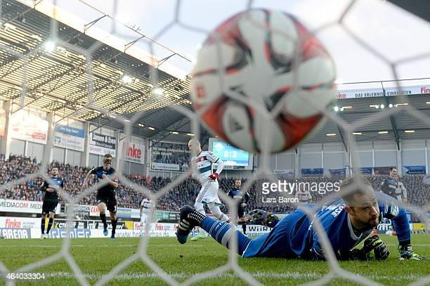 Lukas Kruse of SC Paderborn looks dejected after Arjen Robben of Muenchen scored his teams third goal during the Bundesliga match between SC...