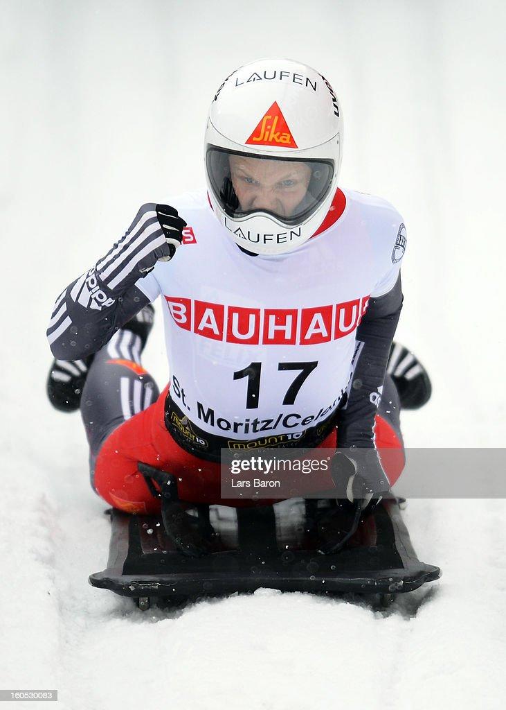 Lukas Kummer of Switzerland celebrates after the man's skeleton final heat of the IBSF Bob & Skeleton World Championship at Olympia Bob Run on February 2, 2013 in St Moritz, Switzerland.