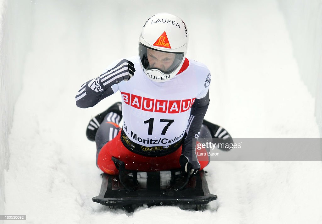 Lukas Kummer of Switzerland celebrates after the man's skeleton final heat of the IBSF Bob & Skeleton World Championship at Olympia Bob Run on February 2, 2013 in St Moritz, Switzerland.