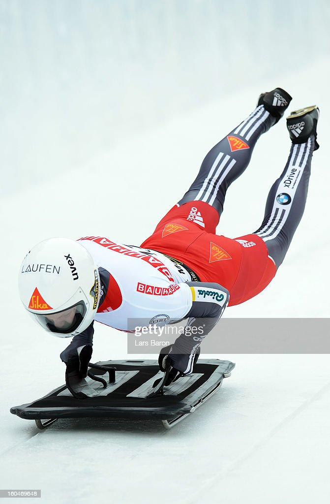 Lukas Kummer of Switzerland competes during the man's skeleton first heat of the IBSF Bob & Skeleton World Championship at Olympia Bob Run on February 1, 2013 in St Moritz, Switzerland.