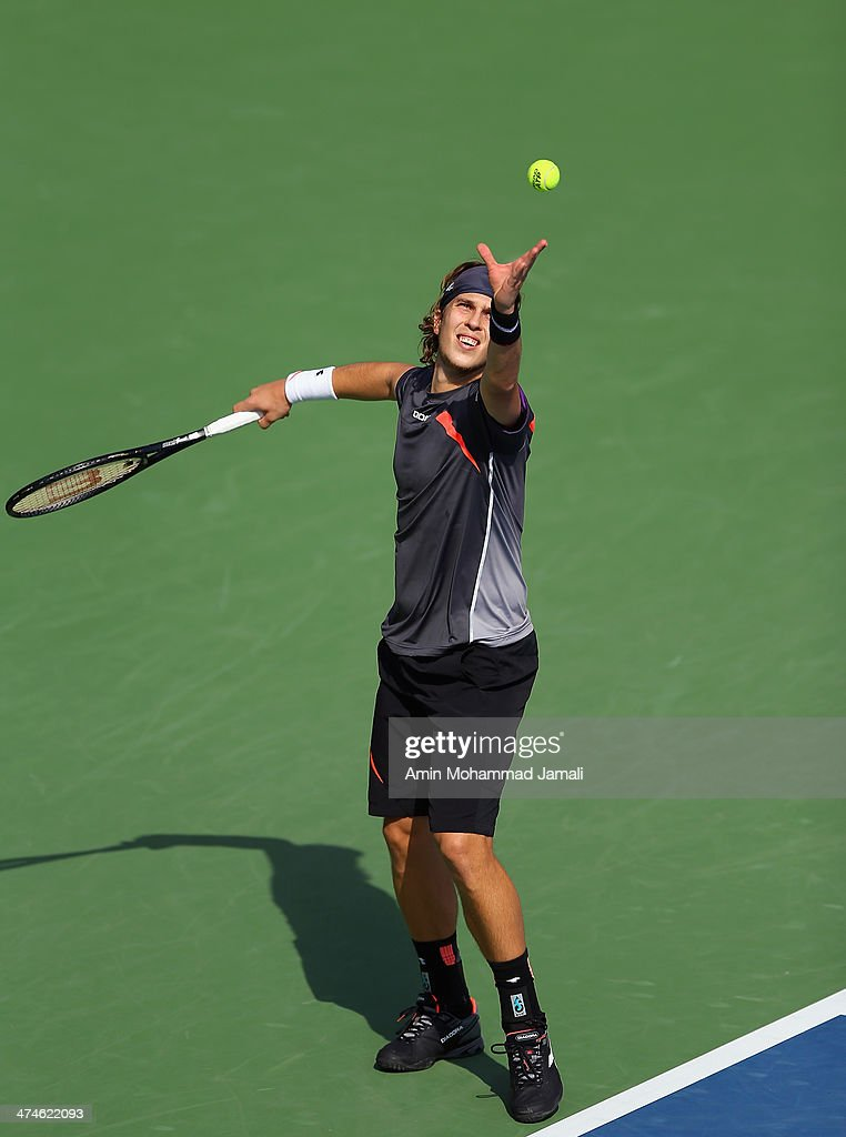 <a gi-track='captionPersonalityLinkClicked' href=/galleries/search?phrase=Lukas+Lacko&family=editorial&specificpeople=821897 ng-click='$event.stopPropagation()'>Lukas Lacko</a> of Slovakia during their first round match of the Dubai Duty Free Tennis ATP Championships in Dubai bitween <a gi-track='captionPersonalityLinkClicked' href=/galleries/search?phrase=Lukas+Lacko&family=editorial&specificpeople=821897 ng-click='$event.stopPropagation()'>Lukas Lacko</a> of Slovakia and Dmitry Tursunov, on February 24, 2014 in Dubai, United Arab Emirates.