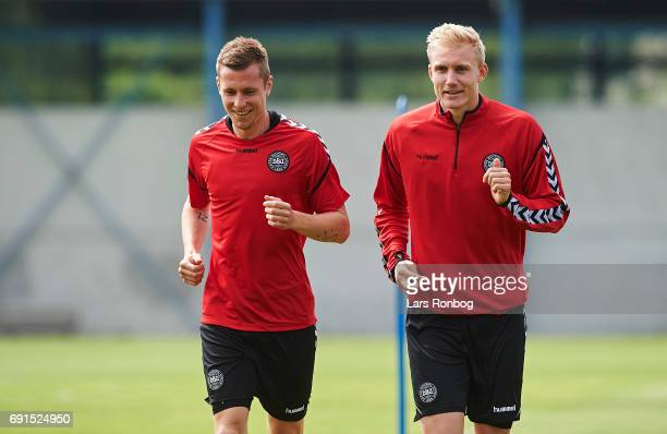 Lukas Lerager and Frederik Sorensen warming up during to the Denmark training session at Brondby Stadion on June 2 2017 in Brondby Denmark