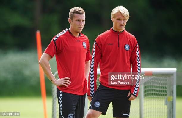 Lukas Lerager and Kasper Dolberg looks on during to the Denmark training session at Brondby Stadion on June 2 2017 in Brondby Denmark