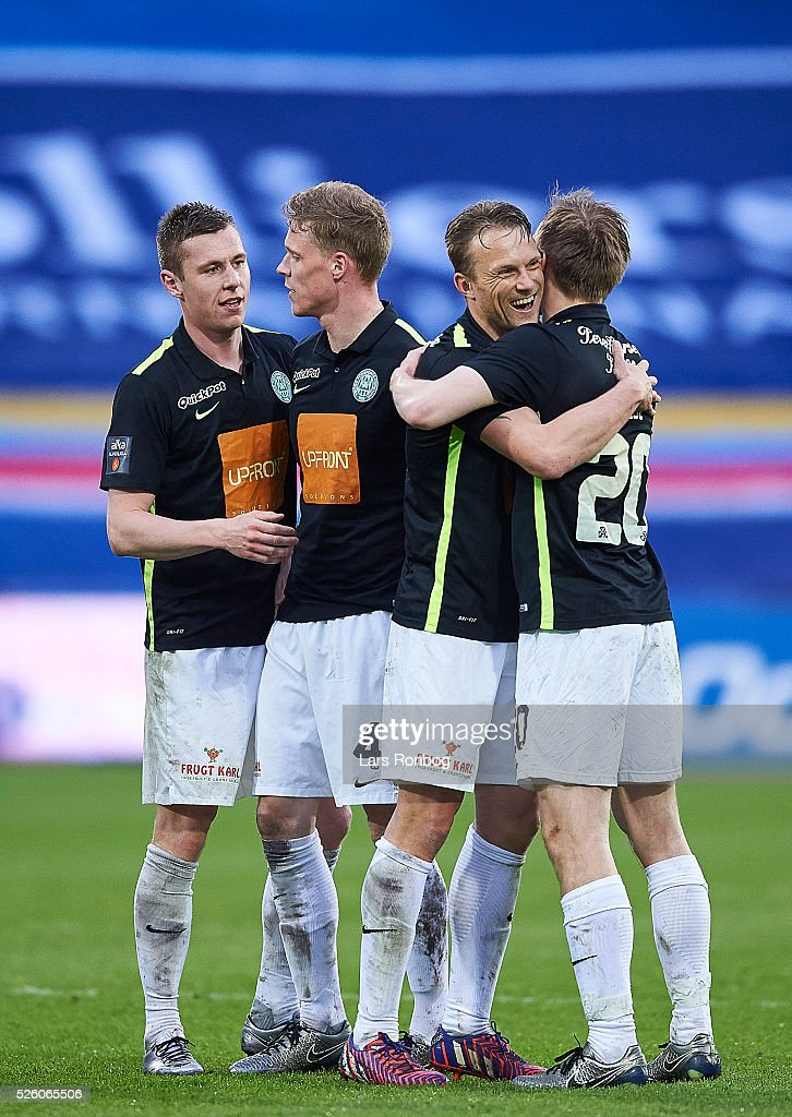 Lukas Lerager, Jacob Egeris, Christopher Poulsen and Soren Reese of Viborg FF celebrate after the Danish Alka Superliga match between AGF Aarhus and Viborg FF at Ceres Park on April 29, 2016 in Aarhus, Denmark.