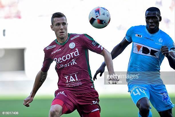 Lukas Lerager midfielder of SV Zulte Waregem controls the ball in front of Anderson Esiti midfielder of KAA Gent during the Jupiler Pro League match...