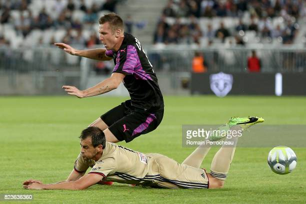 Lukas Lerager of Bordeaux and Danko Lazovic of Videoton in action during the UEFA Europa League qualifying match between Bordeaux and Videoton at...