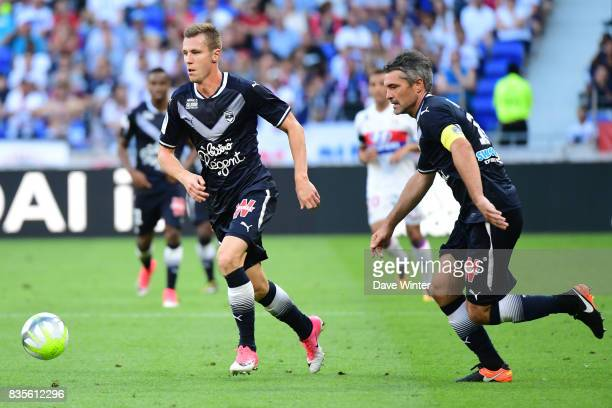 Lukas Lerager of Bordeaux and Jeremy Toulalan of Bordeaux during the Ligue 1 match between Olympique Lyonnais and FC Girondins de Bordeaux at...