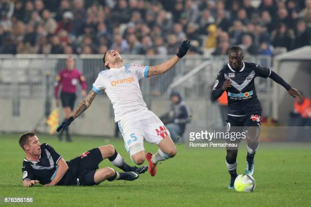 Lukas Lerager of Bordeaux and Lucas Ocampos of Marseille battle for the ball during the Ligue 1 match between FC Girondins de Bordeaux and Olympique...