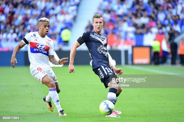 Lukas Lerager of Bordeaux and Mariano Diaz of Lyon during the Ligue 1 match between Olympique Lyonnais and FC Girondins de Bordeaux at Groupama...