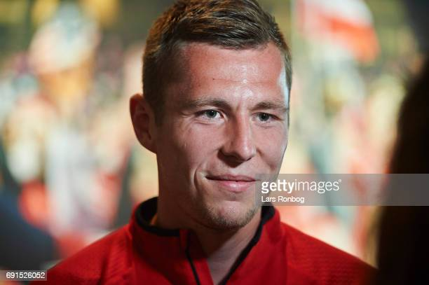 Lukas Lerager speaks to the media prior to the Denmark training session at Brondby Stadion on June 2 2017 in Brondby Denmark