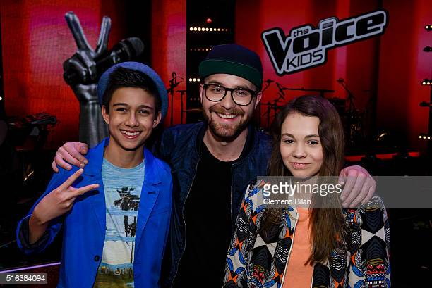 Lukas Mark Forster and Lara attend the 'The Voice Kids' Semi Finals on March 11 2016 in Berlin Germany
