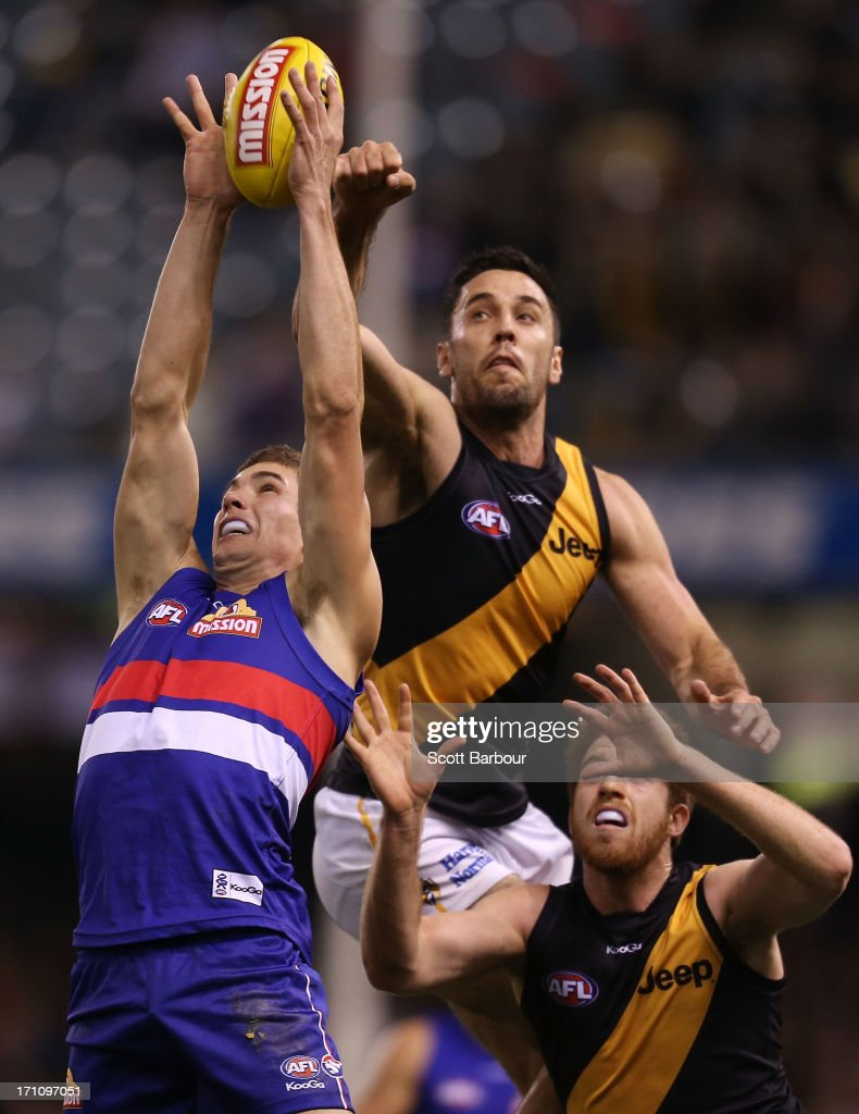 Lukas Markovic of the Bulldogs and Troy Chaplin of the Tigers compete for the ball during the round 13 AFL match between the Western Bulldogs and the Richmond Tigers at Etihad Stadium on June 22, 2013 in Melbourne, Australia.