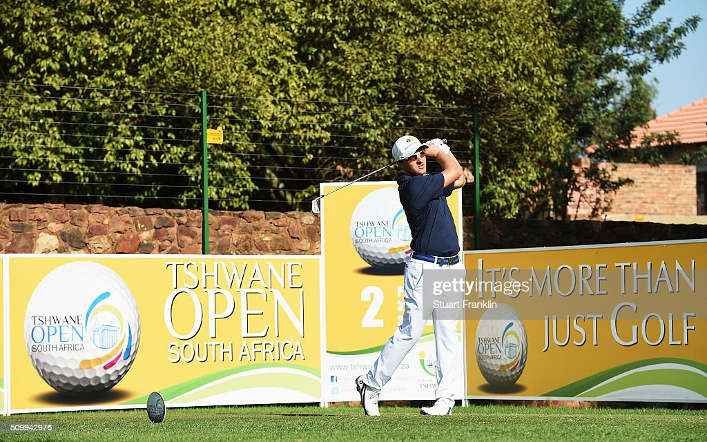 Lukas Memecz of Austria plays a shot during the third round of the Tshwane Open at Pretoria Country Club on February 13, 2016 in Pretoria, South Africa.