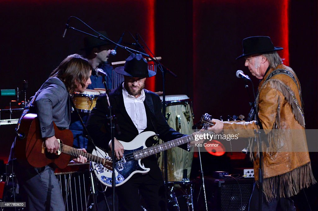 Lukas Nelson and Neil Young perform during the 2015 Gershwin Prize Honoree's Tribute Concert Honoring Willie Nelson at DAR Constitution Hall in...