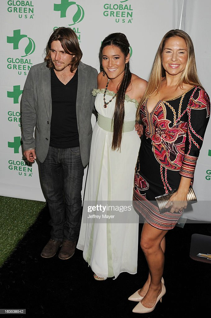 Lukas Nelson and Q'orianka Kilcher arrive at Global Green USA's 10th Annual PreOscar party at Avalon on February 20 2013 in Hollywood California