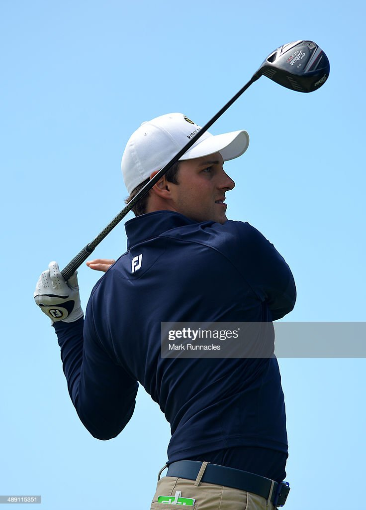 Lukas Nemecz of Austria plays his tee shot at the 16th during the Madeira Islands Open - Portugal - BPI at Club de Golf do Santo da Serra on May 10, 2014 in Funchal, Madeira, Port gal.