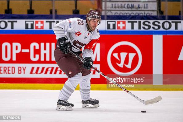Lukas Pech of Sparta Prague during the Champions Hockey League Round of 16 match between HV71 Jonkoping and Sparta Prague at Kinnarps Arena on...
