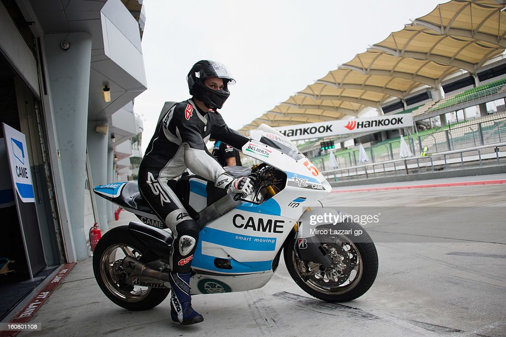 Lukas Pesek of Came Iodaracing Project starts from the box during the MotoGP Tests in Sepang - Day Four at Sepang Circuit on February 6, 2013 in Kuala Lumpur, Malaysia.