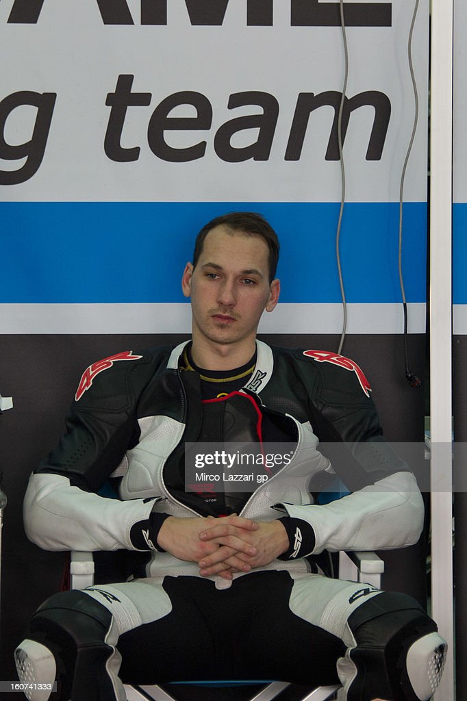 Lukas Pesek of Czech Republic and Came Iodaracing Project looks on in box during the MotoGP Tests in Sepang - Day Three at Sepang Circuit on February 5, 2013 in Kuala Lumpur, Malaysia.
