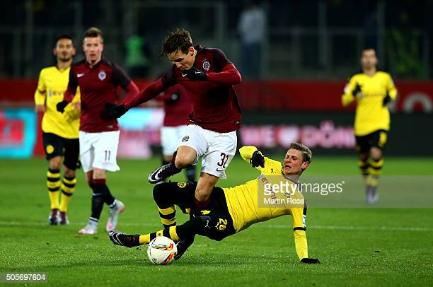 Lukas Piszczek of Dortmund and of Josef Sural Prague battle for the ball during the friendly match between Borussia Dortmund and Sparta Prague at at...