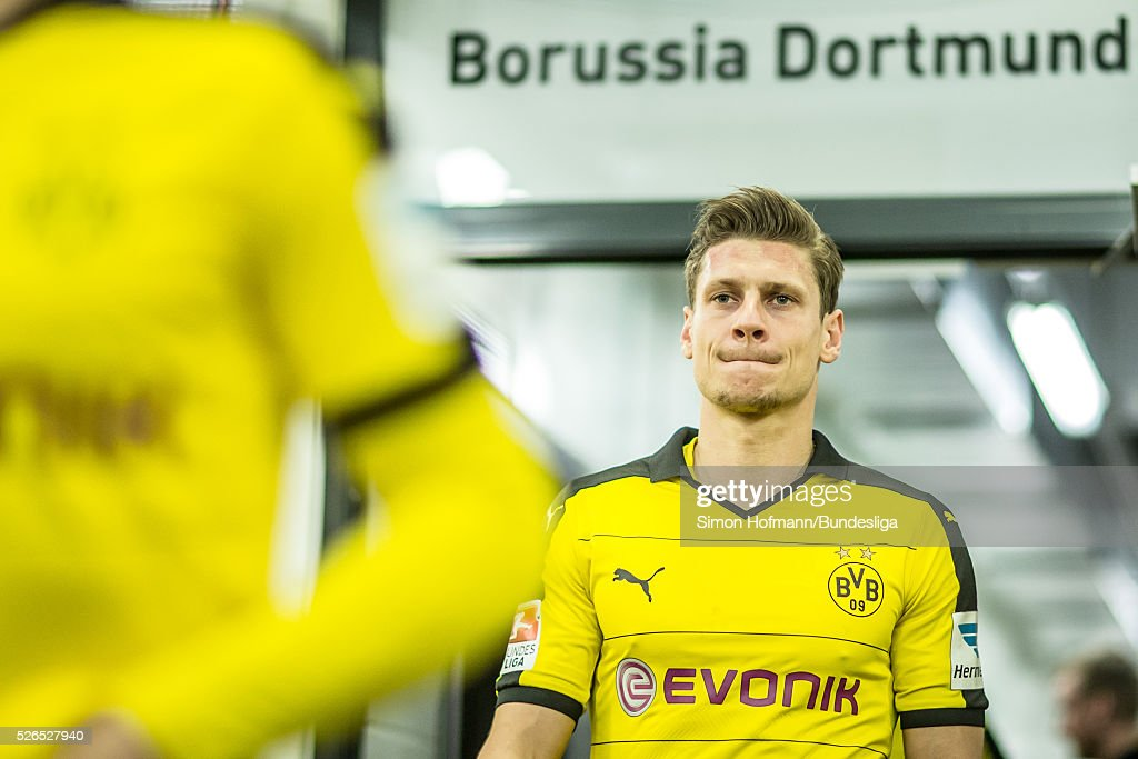 Lukas Piszczek of Dortmund looks on prior to the Bundesliga match between Borussia Dortmund and VfL Wolfsburg at Signal Iduna Park on April 30, 2016 in Dortmund, North Rhine-Westphalia.